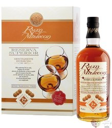 """Malecon """" Reserva Superior """" aged 12 years glass set Panamas rum 40% vol.  0.70l"""