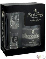"""Ron de Jeremy """" Spiced """" 2glass set flavored Panamas rum 38% vol.  0.70 l"""