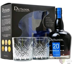"Dictador "" Icon reserve "" 20 years old 2 glass pack aged rum of Colombia 40% vol.   0.70 l"