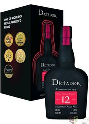 """Dictador """" Ultra premium reserve """" gift box aged 12 years rum of Colombia 40% vol.  0.70 l"""