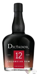 """Dictador """" Icon reserve """" aged 12 years Colombian rum 40% vol.  0.70 l"""