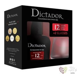 "Dictador "" Ultra premium reserve "" aged 12 years old 2 glass pack rum of Colombia 40% vol.  0.70 l"