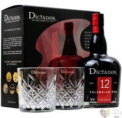 """Dictador """" Icon reserve """" 2glass set aged 12 years old  Colombian rum 40% vol.  0.70 l"""