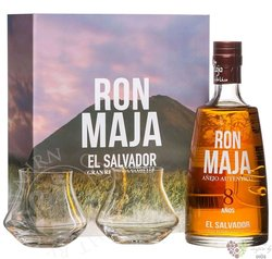 Maja 8 years old glass set El Salvador rum 40% vol.  0.70 l