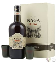 Naga glass set cask aged Indonesian rum 38% vol.  0.70 l