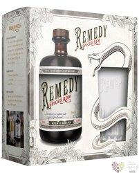 "Remedy "" Spiced "" glass set flavored Caribbean rum 41.5% vol.  0.70 l"