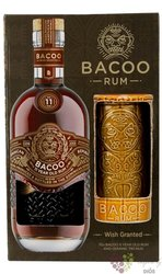 Bacoo aged 11 years gift set Dominicana rum 40% vol.  0.70 l