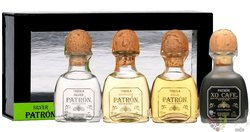 """Patron """" Freebie """" variety set Blue agave Mexican tequila 40% vol.  4x0.05 l"""