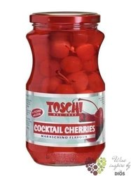 Red coctail cherries with stems Maraschino flavour by Toschi    630 g