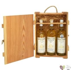 Dřevěná kazeta s dvířky 3 x 0.75 l  s motivem vinařstí  Vs Valtice