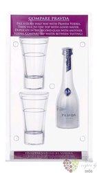 Pravda premium vodka + two glass of Poland 40% vol. 0.05l