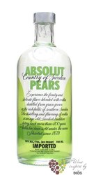 """Absolut """" Pears """" flavored country of Sweden Superb vodka 40% vol.    0.70 l"""