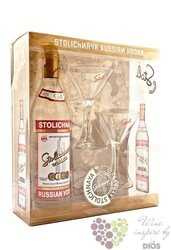 "Stolichnaya "" Original red "" 2glass pack Russian plain vodka 40% vol.  1.50 l"