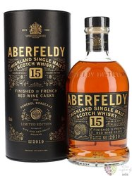 "Aberfeldy "" Red wine cask finish "" aged 15 years single malt Highlands whisky 43% vol.  0.70 l"
