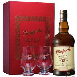 Glenfarclas 15 years old glass set single malt Speyside whisky 46% vol.  0.70 l