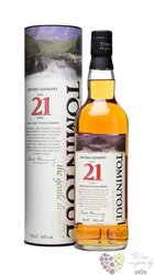 Tomintoul aged 21 years Speyside single malt whisky 40% vol.     0.70 l