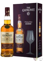Glenlivet 15 years old 2glass pack Speyside single malt whisky 40% vol.  0.70 l