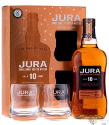 """Isle of Jura """" Special edition """" aged 10 years glass set Jura Island whisky 40%vol.  0.70 l"""