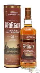 "BenRiach "" Tawny port wood finish "" aged 21 years peated malt whisky 46% vol.  0.70 l"