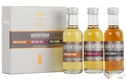 "Auchentoshan "" US oak & 12years & Three wood "" collection of Lowland whisky 40%vol.  3x0.05"