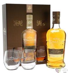 "Tomatin "" Legacy "" 2glass set single malt Speyside whisky 43% vol.  0.70 l"