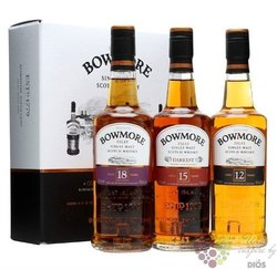 "Bowmore "" Collection "" set 12 yo & 15 yo & 18 yo single malt Islay whisky   3 x0.20 l"