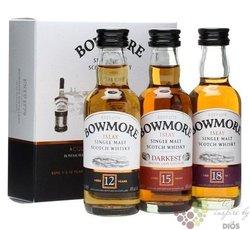 """Bowmore """" Collection """" set 12 yo & 15 yo & 18 yo single malt Islay whisky 43% vol. 3 x 0.05"""