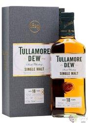 "Tullamore Dew "" Triple distilled "" aged 18 years single malt Irish whiskey 41.3% vol.  0.70 l"