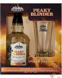"""Peaky Blinder """" Spiced dry """" glass set English gin by Sadler´s 40% vol.  0.70 l"""