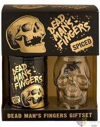 "Dead mans finger "" Spiced "" glass set flavored Caribbean rum 37.5% vol.  0.70 l"