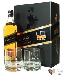 "Johnnie Walker "" Black label "" 2 glass gift pack ed.2010 premium blended whisky40% vol.  0.70 l"
