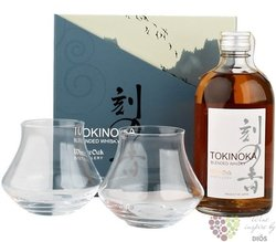 Tokinoka glass set of blended Japanese whisky by White oak 40% vol.  0.50 l